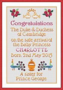 A Cross Stitch Souvenir Celebrating the Birth of Princess Charlotte
